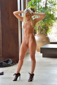 Sexy Blonde FTV Teen Kaylie Showing Off Her Shaved Pussy In Her High Heels