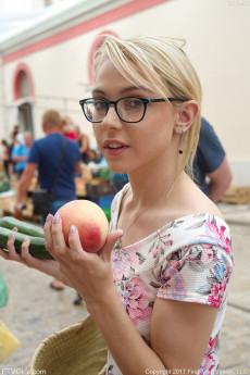 Beautiful blonde teen Chloe wearing glasses at the market and giving public upskirt peeks then goes home to masturbate